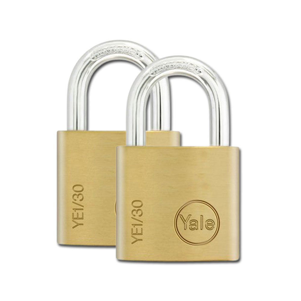 Yale Essential Brass Padlock 30mm 2 Pack KA