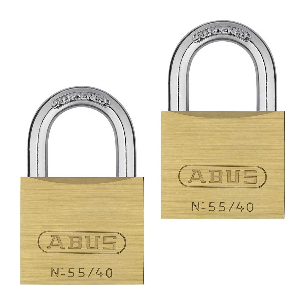 Abus 55/40mm Brass Padlock Twin pack