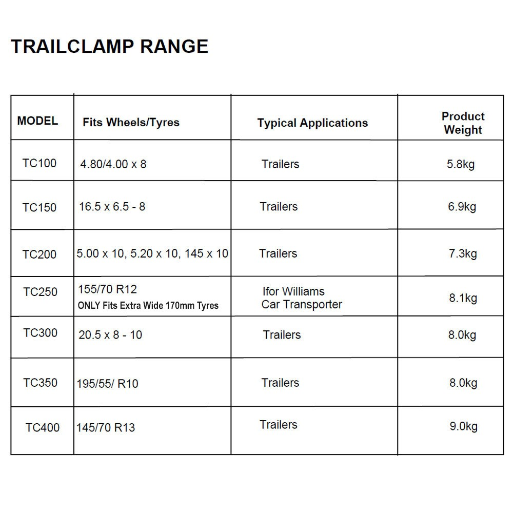 Trail Clamp Size Chart