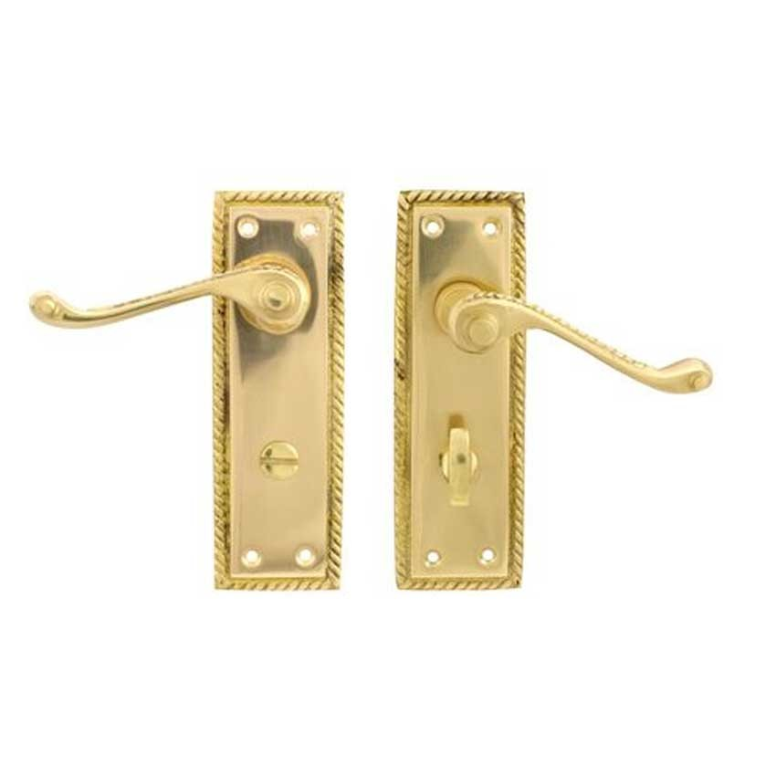 TSS Georgian Scroll Lever Bathroom Polished Brass