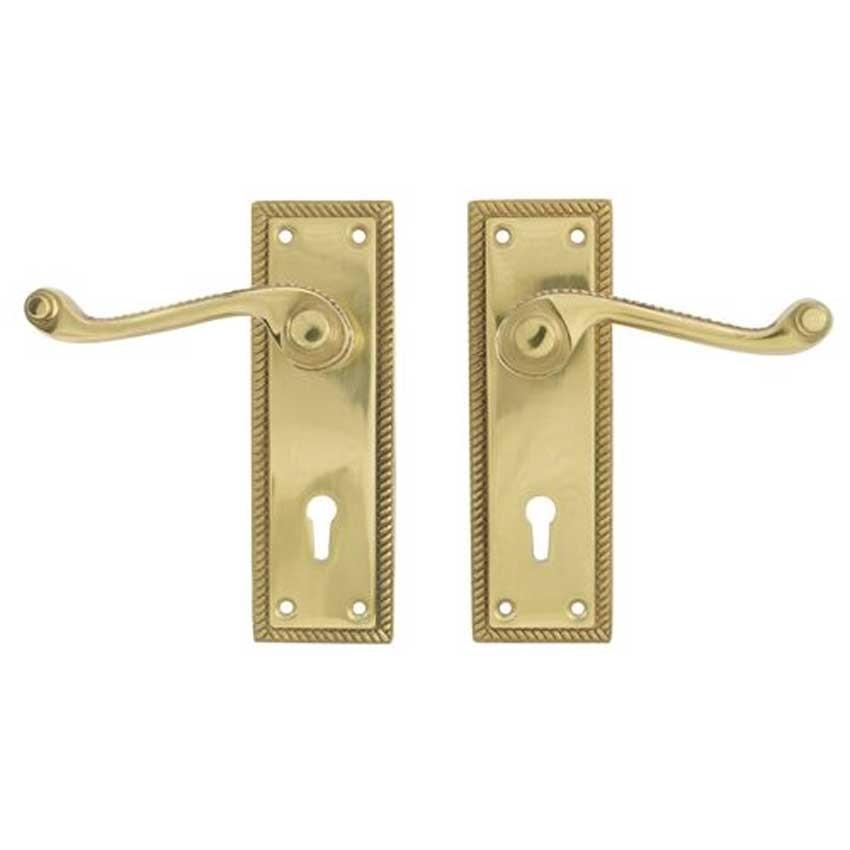 TSS Georgian Scroll Lever Lock Polished Brass