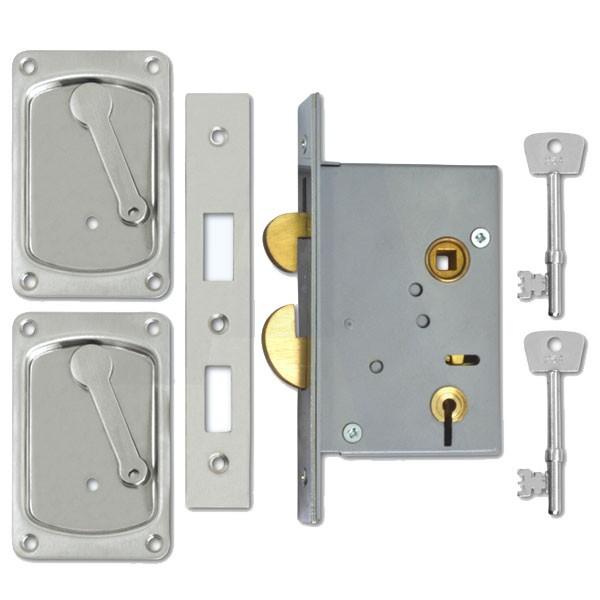 Willenhall Sliding Door Lock Satin Chrome
