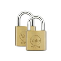 Yale Essential Brass Padlock 20mm 2 Pack KA