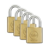 Yale Essential Brass Padlock 20mm 4 Pack KA