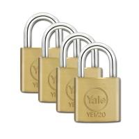 Yale Essential Brass Padlock 20mm 4 Pack KA