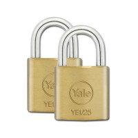 Yale Essential Brass Padlock 25mm 2 Pack KA