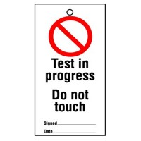 Lockout Tag Test In Progress 100mm