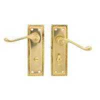 TSS Georgian Scroll Lever Bathroom Polished Brass