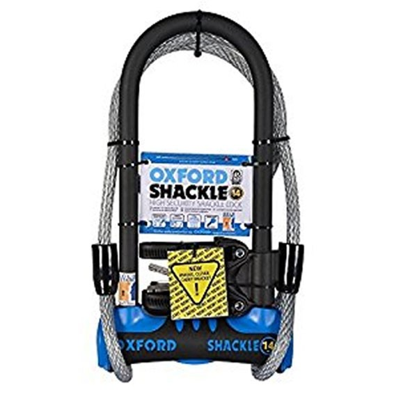 Oxford SHACKLE 14 DUO U-Lock Blue With Cable