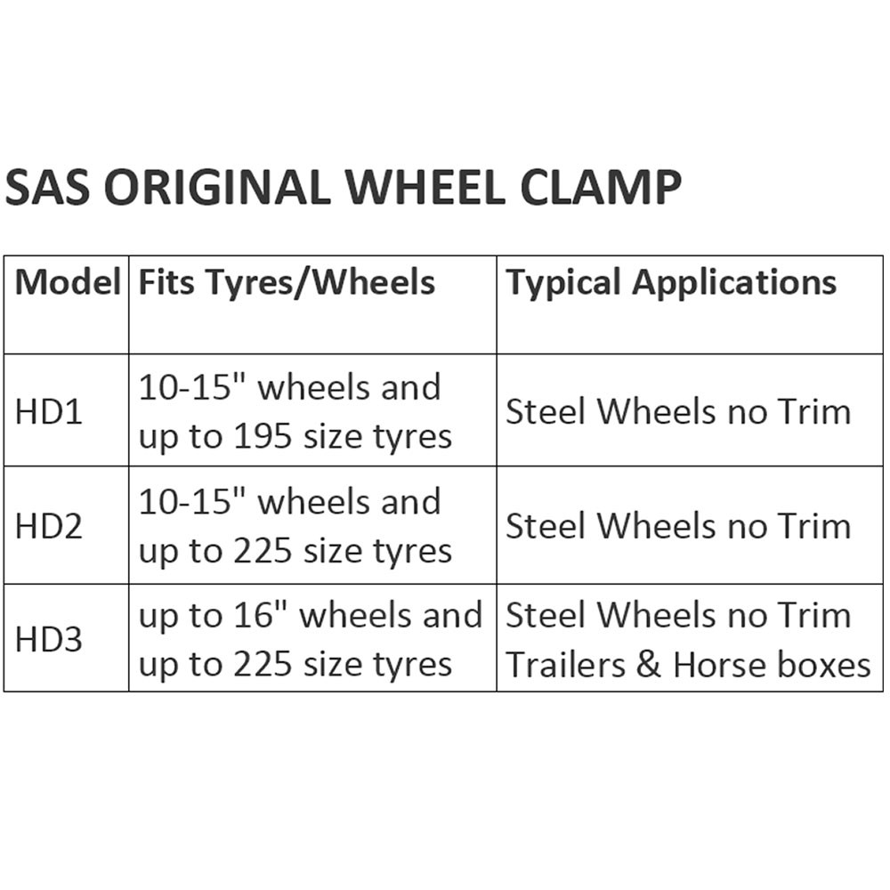 Original Wheel Clamp Chart