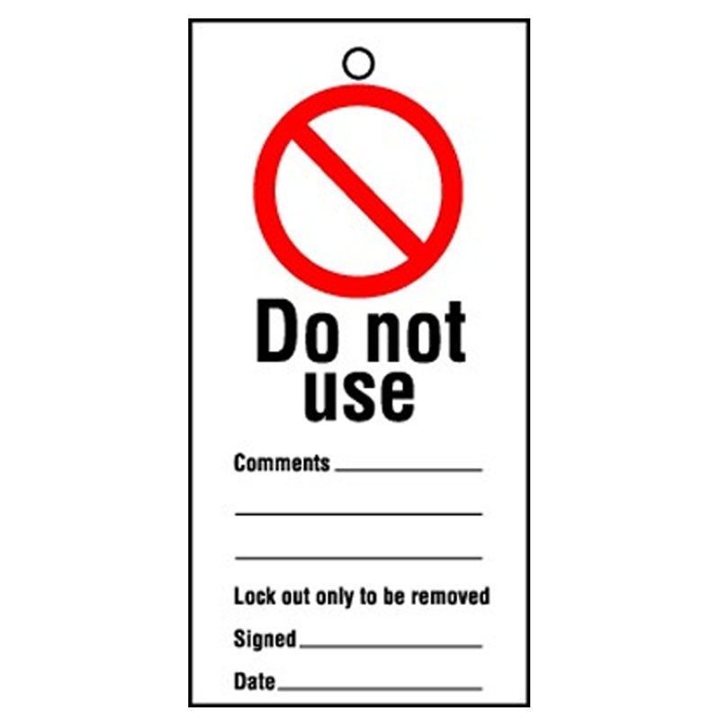 Lockout Tag Do Not Use 100mm