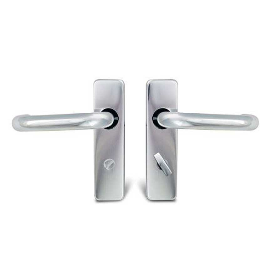 TSS Round Bar Lever Bathroom Polished Aluminium