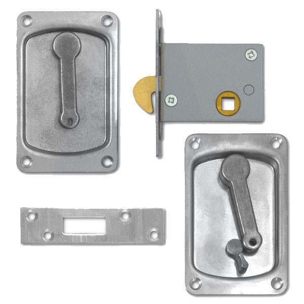 Willenhall Sliding Door Latch with Snib Satin Chrome 64mm