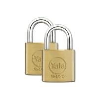 Yale Essential Brass Padlock 20mm 2 Pack KA