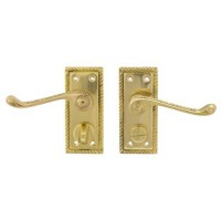 TSS Georgian Scroll Lever Privacy Polished Brass