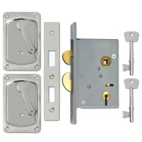 Willenhall Sliding Door Lock Satin Chrome