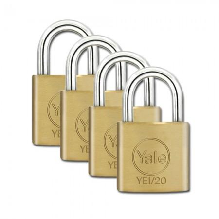 Yale Essential Brass Padlock 20mm 4 Pack